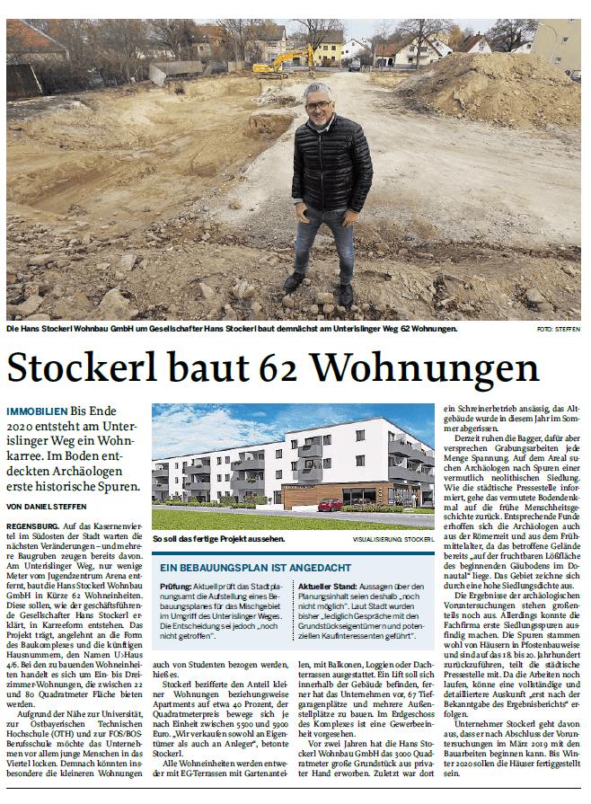 """Zeitungsartikel der MZ: """"Stockerl baut 62 Wohnungen"""""""
