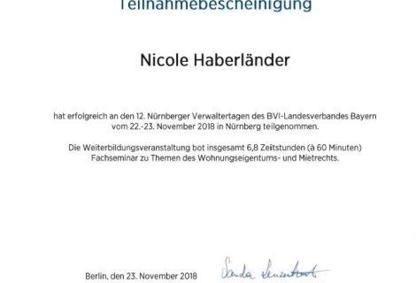 Teilnahmebescheinigung an den Nürnberger Verwaltertagen von Frau Haberländer