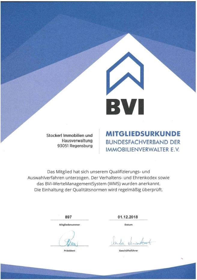 Mitgliedsurkunde BVI