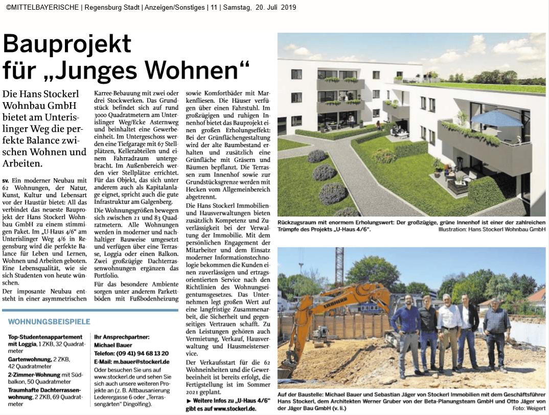 Pressebericht U>Haus vom 20.07.2019