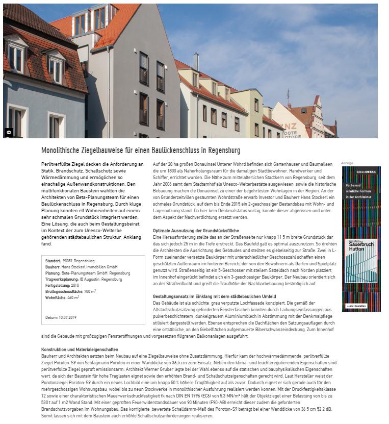 Wöhrdstraße 36 – Monolithische Ziegelbauweise für einen Baulückenschluss in Regensburg